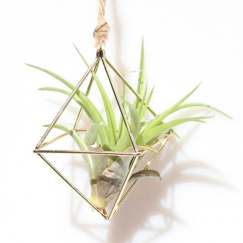 Hanging Air  Plant Flower Pot Rack Holder Container Bracket  Metal Geometric Dec