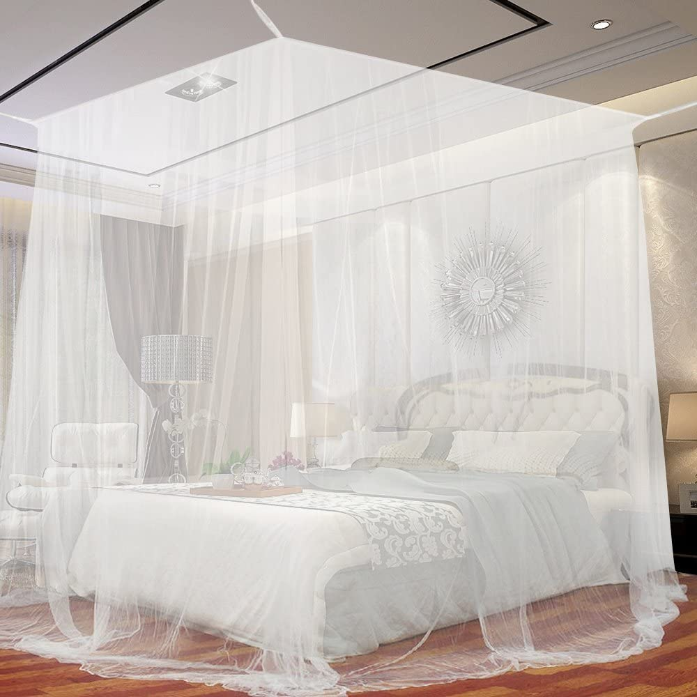 4 Corner Bedroom Post Bed Canopy Mesh Curtain Mosquito Net F